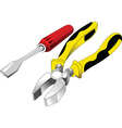 Screwdriver and pliers vector image vector image