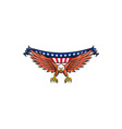 American Eagle Swooping USA Flag Retro vector image