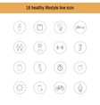 A set of liner icons isolated healthy lifestyle vector image