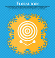 darts icon Floral flat design on a blue abstract vector image
