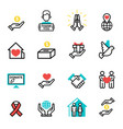 donate money set outline icons help icon donation vector image