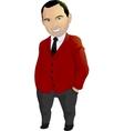 Funny man in a crimson jacket vector image