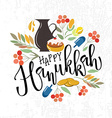 Happy Hanukkah lettering typography collection of vector image