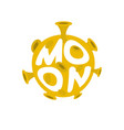 moon lettering yellow planet of solar system on vector image