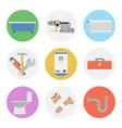 nine color flat icon set - plumbing vector image