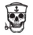 sailor skull with pipe vector image