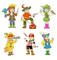 set of pirate child cartoon vector image
