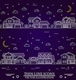 Neighborhood with homes on purple background vector image