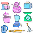kitchen set colorful doodle style vector image