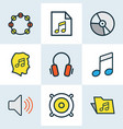 audio colored outlines set collection of sound vector image