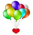 balloons with a red heart vector image