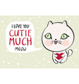 a cute white cat with a heart is saying I love you vector image