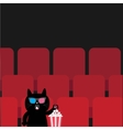 Cat in 3D glasses sitting in movie theater eating vector image