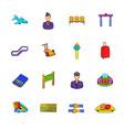 airport set icons set cartoon vector image