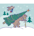 Bear carries a Christmas tree and owl flying vector image