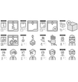 Virtual reality and 3D technology line icon set vector image