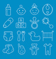 baby icons set isolated on blue background vector image
