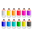 Colorful Sharpened Pencil Icons vector image vector image