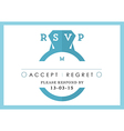 RSVP Wedding card blue ring theme vector image