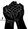 Cupped empty hands with place for some small vector image