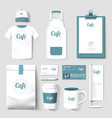 restaurant cafe set flyer menu package t-shirt cap vector image