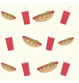 Seamless background with hot dogs and drinks vector image
