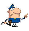 Police Man Pointing And Holding A Club vector image vector image