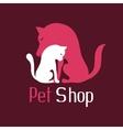 Cat and dog tender embrace sign for pet shop logo vector image