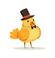 funny cartoon chick bird in a black top hat and vector image