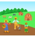 Farming black family in farm field flat background vector image