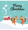 Fox cartoon of Christmas season design vector image