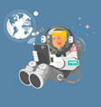 astronaut in outer space using a laptop vector image