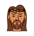 face jesus christ with crown thorns catholic vector image