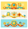 Horizontal banners with trophy and awards in flat vector image vector image