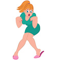 Cartoon woman with blond hair and open mouth vector image