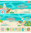Set of summer beach banners and icons vector image