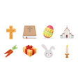 easter is a christian holiday icons in set vector image