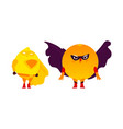 funny orange and lemon hero superhero characters vector image
