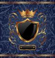 Golden vintage heraldic elements crown shield vector image