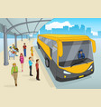 people at bus station vector image