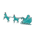 santa carriage with reindeer flying vector image