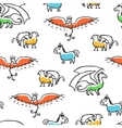 Seamless pattern with cute cartoon mythical beasts vector image