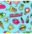 Patches For Girls Comic Style Pattern vector image