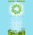 ecology calendar template with green earth globe vector image vector image