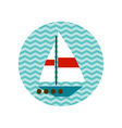 boat with a white sail on the waves vector image