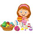 Little girl painting an Easter egg vector image