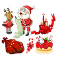 Christmas flashcard with Santa and ornaments vector image vector image