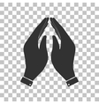 Hand icon  Prayer symbol Dark gray vector image