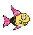 Color pencil drawing of fish with long fins vector image