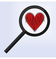 magnifying glass is positioned on a heart vector image